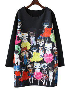 Cartoon Cat Print Long Sleeve Dress - Black 2xl