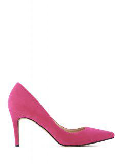 Pointed Toe Suede Stiletto Heel Pumps - Rose Madder 37