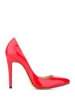 Patent Leather Pointed Toe Stiletto Heel Pumps - Red 36