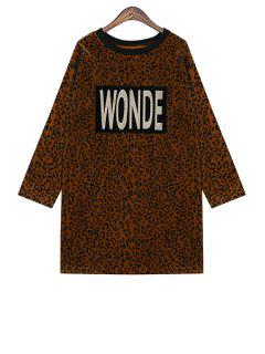 Letter Embroidery Leopard Pattern Dress - Coffee