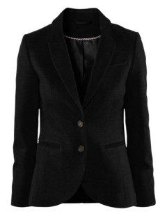 Solid Color Lapel Collar Blazer - Black L