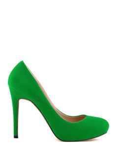 Stiletto Heel Suede Solid Color Pumps - Green 38