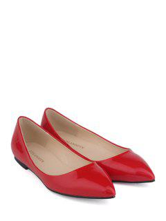 Patent Leather Pointed Toe Flat Shoes - Red 37