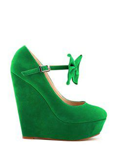 Suede Bowknot Wedge Heel Buckle Pumps - Green 40