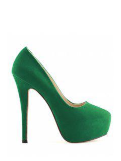 Suede Platform Sexy High Heel Pumps - Green 40