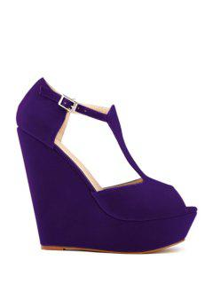 Suede Wedge Heel T-Strap Buckle Sandals - Purple 42