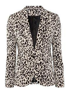 Lapel Neck Leopard Print Blazer - Leopard S
