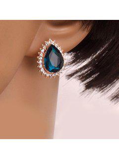 Pair Of Stylish Women's Rhinestone Inlaid Drop Faux Gem Design Earrings - Blue