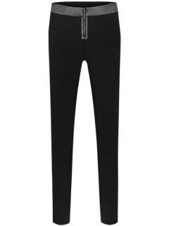 Color Block Zipper Narrow Feet Pants - Black M