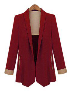 Shawl Collar Solid Color Blazer - Wine Red M