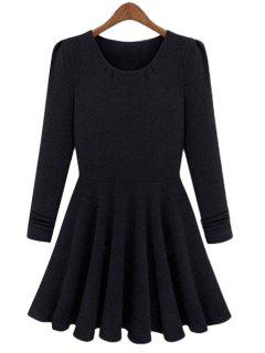 Solid Color Long Sleeves A-Line Dress - Black M