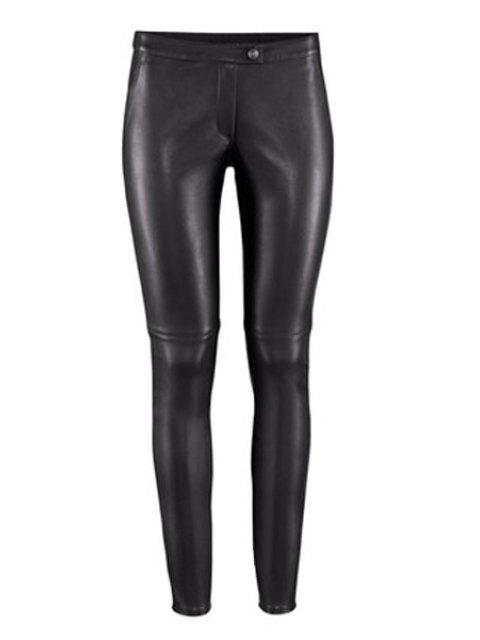 outfit Solid Color PU Leather Narrow Feet Pants - BLACK XL Mobile