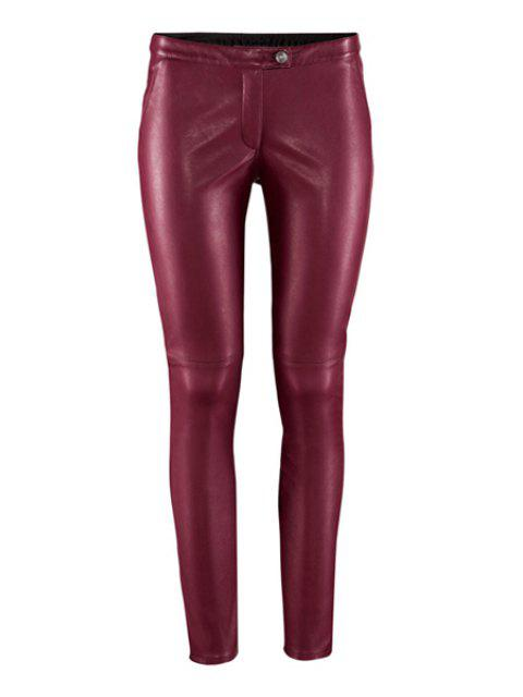 sale Solid Color PU Leather Narrow Feet Pants - WINE RED M Mobile