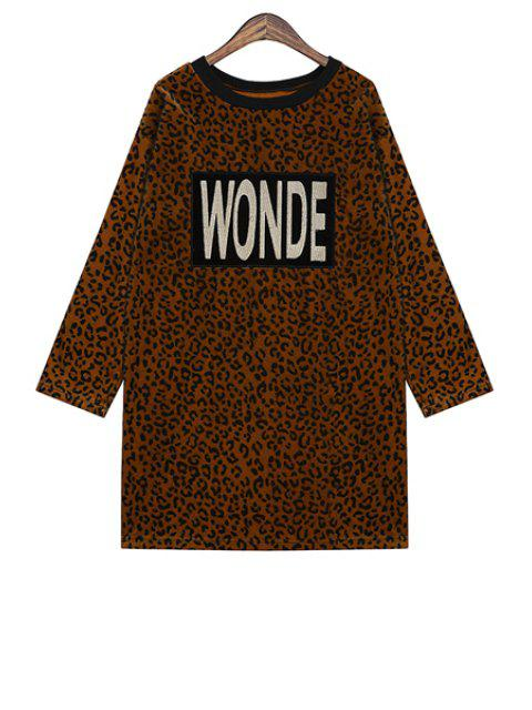 buy Letter Embroidery Leopard Pattern Dress - COFFEE ONE SIZE(FIT SIZE XS TO M) Mobile