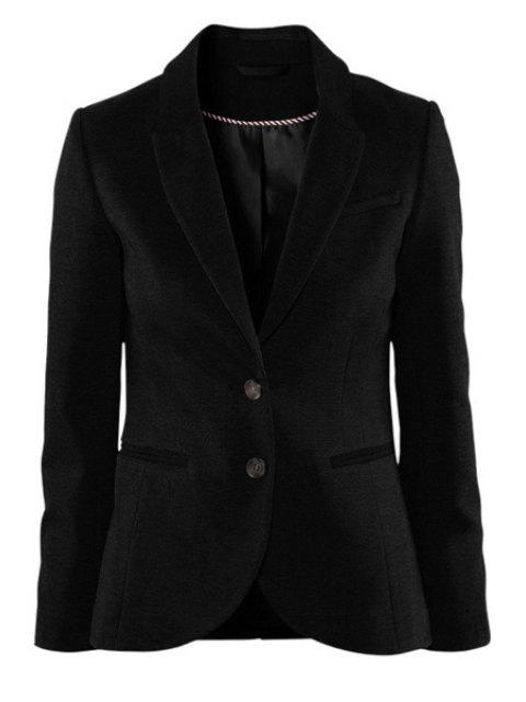 outfit Solid Color Lapel Collar Blazer - BLACK S Mobile