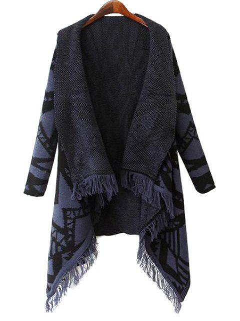 lady Geometric Pattern Fringe Cardigan - CADETBLUE L Mobile