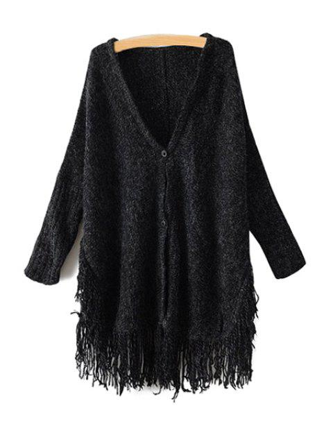 shop Solid Color Fringe Cardigan - BLACK ONE SIZE(FIT SIZE XS TO M) Mobile