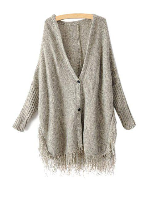 shops Solid Color Fringe Cardigan - GRAY ONE SIZE(FIT SIZE XS TO M) Mobile