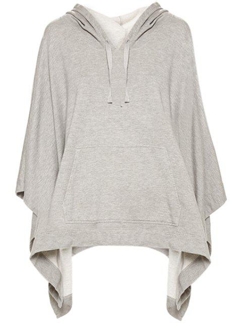 online Solid Color Front Pocket Hoodie - GRAY XS Mobile