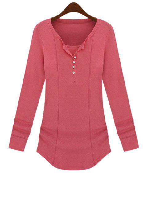 trendy Long Sleeve Solid Color T-Shirt - PINK M Mobile