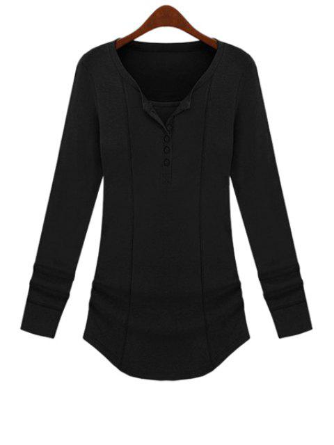 hot Long Sleeve Solid Color T-Shirt - BLACK M Mobile