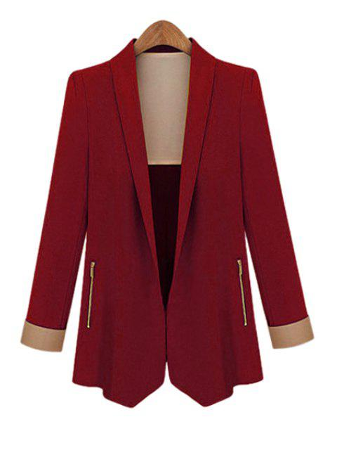 affordable Shawl Collar Solid Color Blazer - WINE RED M Mobile