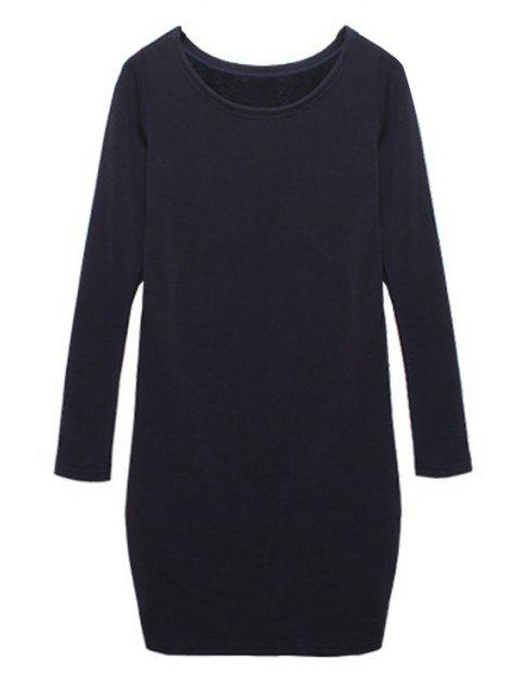 trendy Solid Color Long Sleeves Dress - SAPPHIRE BLUE M Mobile