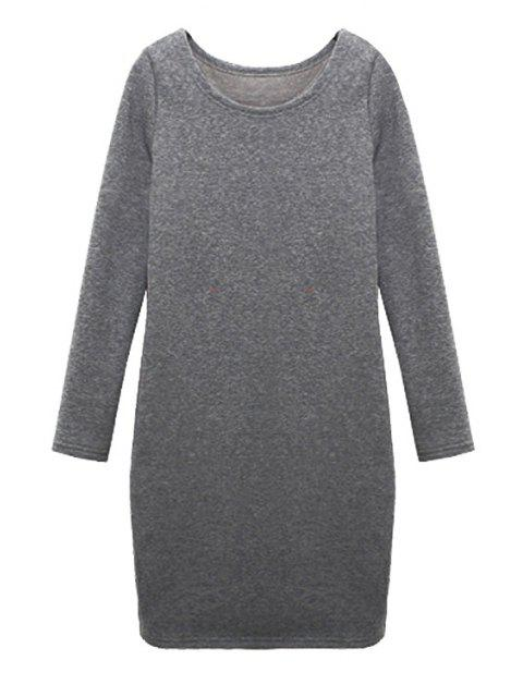 lady Solid Color Long Sleeves Dress - LIGHT GRAY M Mobile
