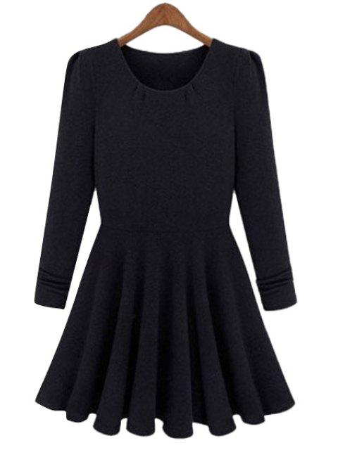 shop Solid Color Long Sleeves A-Line Dress - BLACK M Mobile
