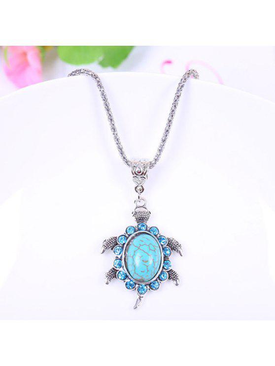 chic Sweet Women's Turquoise Tortoise Pendant Designed Necklace - LIGHT BLUE