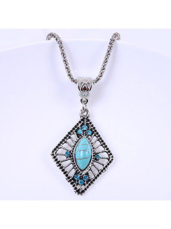 hot Retro Women's Turquoise Rhinestone Diamond Shape Pendant Necklace - LIGHT BLUE