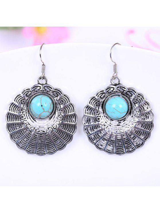 outfits Pair of Stylish Women's Turquoise Round Design Earrings - TURQUOISE