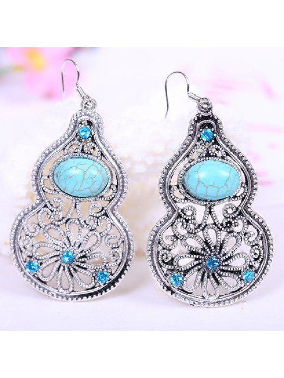 sale Pair of Retro Style Kallaite Embellished Calabash Shape Pendant Earrings For Women - LAKE BLUE