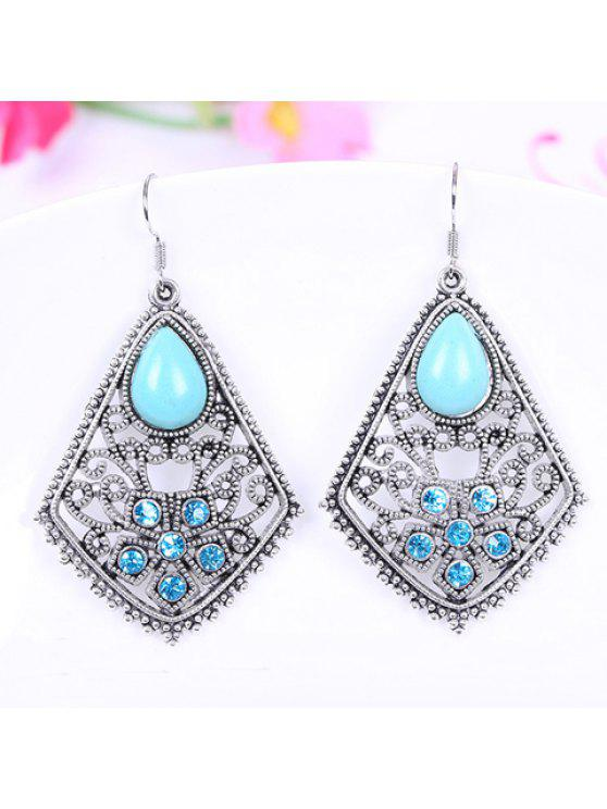 outfits Pair of Retro Style Kallaite Embellished Waterdrop Shape Earrings For Women - LAKE BLUE