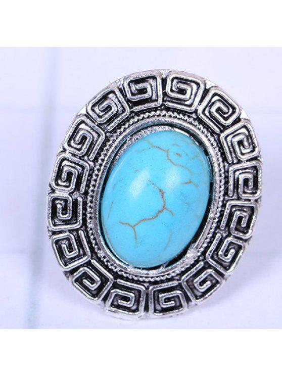 shop Chic Women's Turquoise Decorated Ring - SILVER ONE-SIZE
