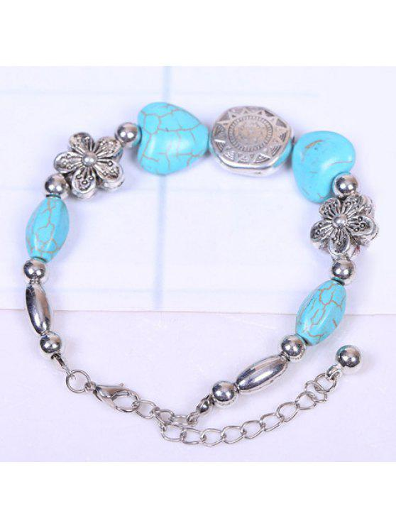 fashion Chic Women's Turquoise Decorated Bracelet - SILVER AND BLUE