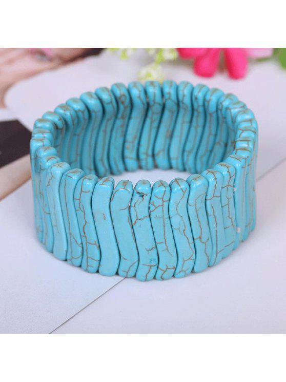 womens Retro Style Kallaite Embellished Solid Color Broadbrimmed Bracelet For Women - LAKE BLUE