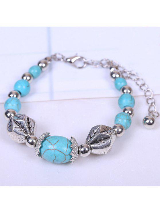 chic Ethnic Egg-Shaped Kallaite Bracelet For Women - SILVER AND BLUE