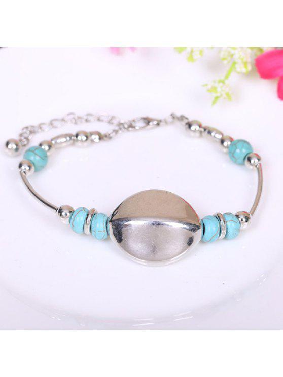 sale Simple Design Irregular Metal and Kallaite Bracelet - SILVER AND BLUE