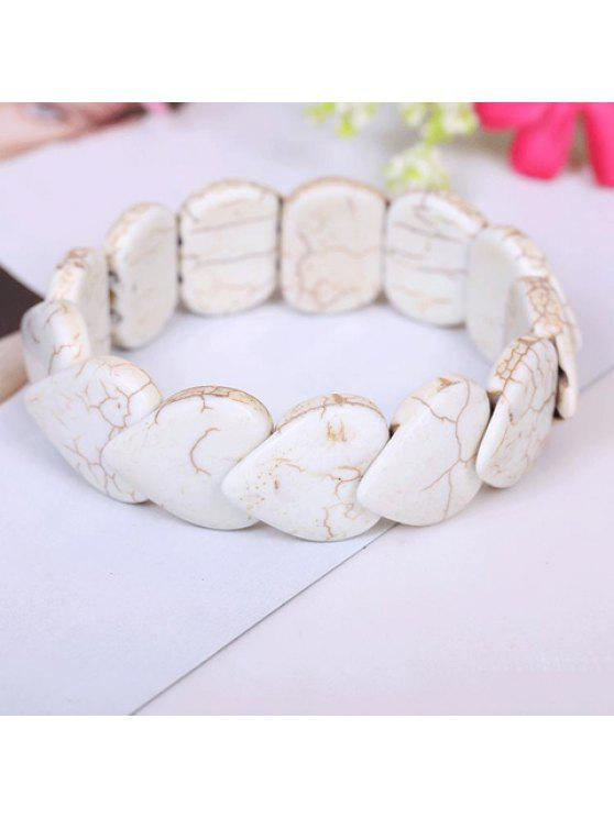 affordable Attractive Heart-Shaped Kallaite Beads Bracelet - WHITE