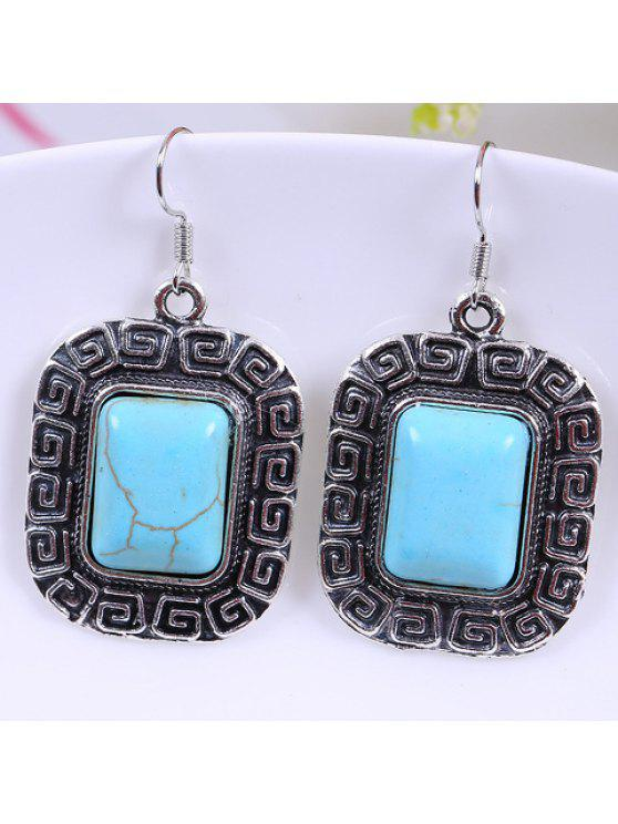 lady Pair of Stylish Women's Turquoise Square Design Earrings - WATER BLUE