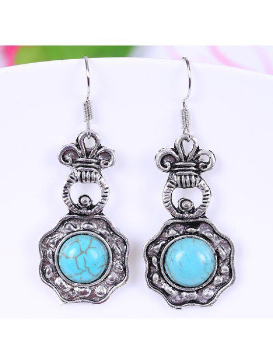 new Pair of Stylish Women's Turquoise Geometric Pendant Earrings - WATER BLUE