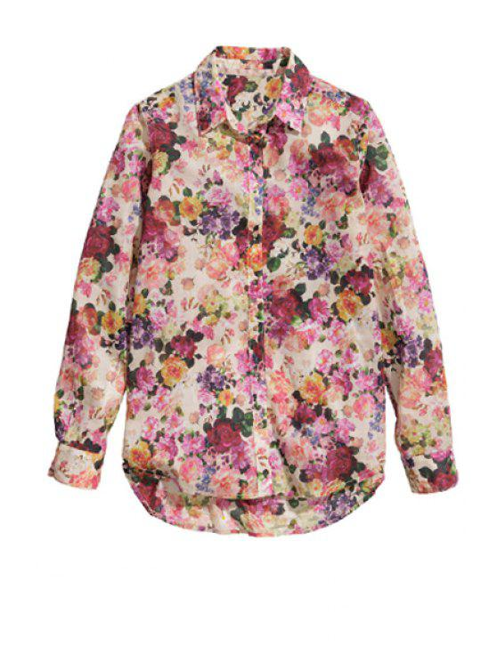 chic Long Sleeve Full Floral Shirt - PEACH RED XS