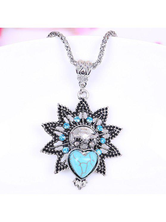 online Retro Women's Heart Turquoise Rhinestone Flower Pendant Necklace - LIGHT BLUE