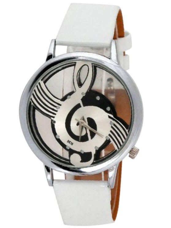 fancy Musical Note Pattern Watch - WHITE