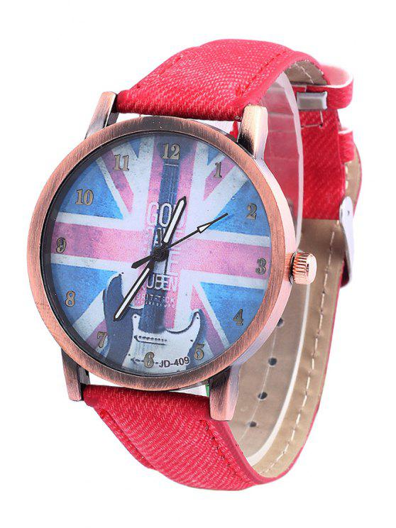 sale Union Jack Guitar Pattern Watch - RANDOM COLOR