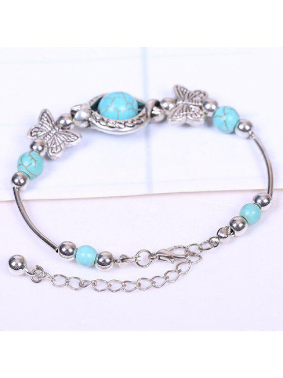 ladies Retro Women's Turquoise Printed Butterfly Bracelet - SILVER AND BLUE