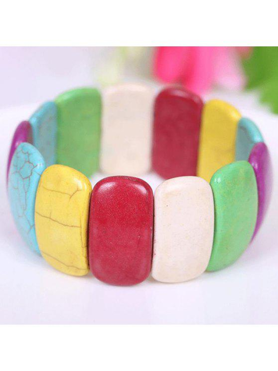women Chic Women's Colored Printed Turquoise Bracelet - COLORMIX