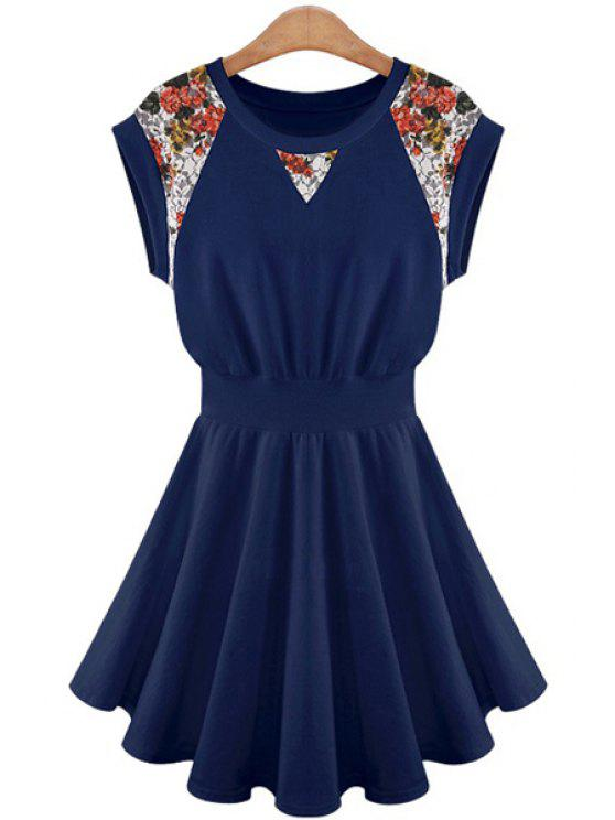 women's Lace Splicing A-Line Dress - CADETBLUE S