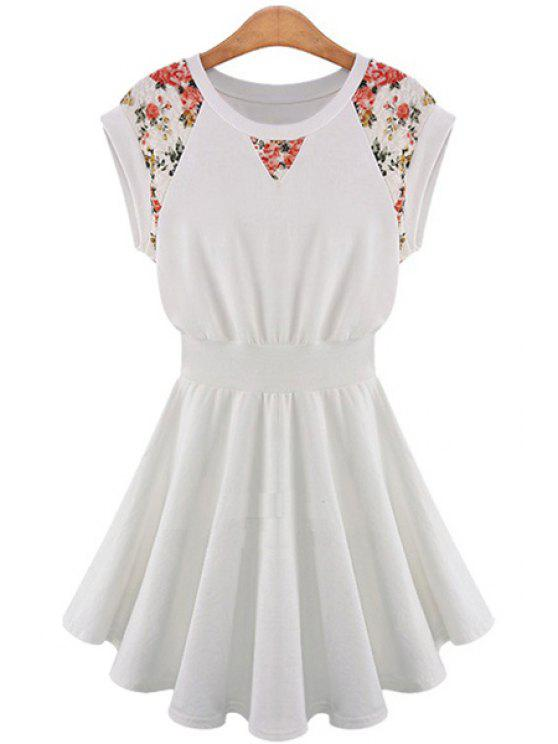 trendy Lace Splicing A-Line Dress - OFF-WHITE XL